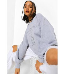 oversized geborduurde santa monica sweater, grey marl