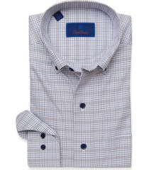 men's david donahue casual plaid shirt, size large - grey