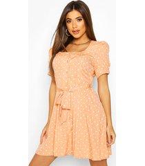 polka dot button puff sleeve skater dress, peach