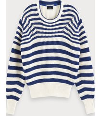scotch & soda cotton-blend chunky knit long sleeve sweater
