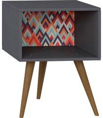 mesa de cabeceira expresso/estampa vermelha be mobiliã¡rio - cinza - dafiti