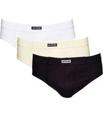 kit com 3 cuecas slip cintura alta vangli branco/marfim/preto
