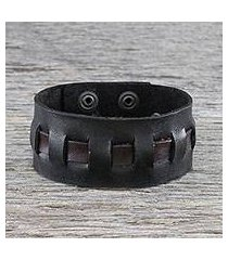 men's leather wristband bracelet, 'new pathways in black' (thailand)