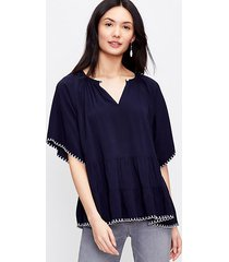 loft embroidered tiered top