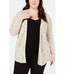 belldini plus size heathered metallic open-front cardigan sweater