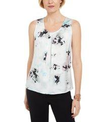 kasper floral-print pleated sleeveless top