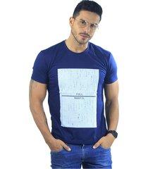 camiseta hombre manga corta slim fit azul marfil full