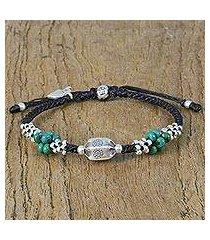 silver beaded pendant bracelet, 'bubbly adventure' (thailand)