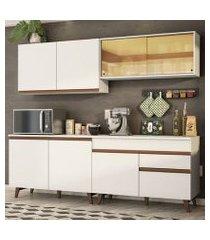 cozinha completa madesa reims 240001 com armário e balcão branco branco