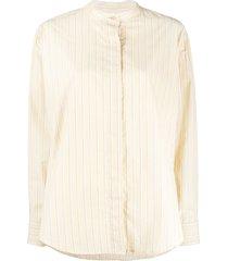 isabel marant satchell stripe-pattern shirt - yellow