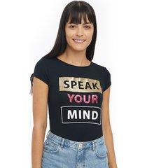 camiseta mujer mind color negro, talla l