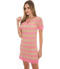 vestido beautifull hit listrado havana rosa