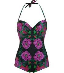 amir slama floral print swimsuit - preto