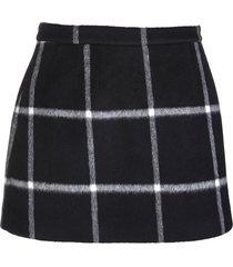 red valentino black double drap check mini skirt