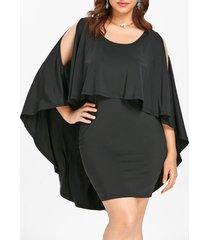 plus size cold shoulder cape dress