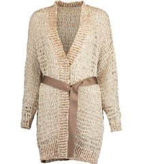 woven wax cotton belted open cardigan