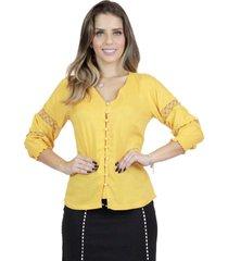 camisa mamorena decote v com recorte rendas amarelo