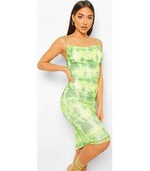 mesh slangenprint midi jurk met waterval hals, lime