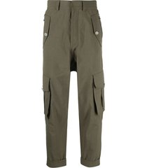 cropped slouchy cargo pants, army green