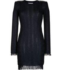 patrizia pepe fringed fine-knit dress - blue