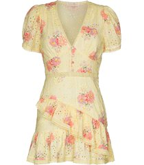 loveshackfancy bea broderie anglaise floral-print dress - yellow