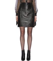 texture stitch lambskin leather mini skirt