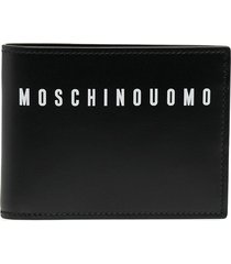 moschino logo-print leather wallet - blue