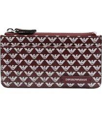 emporio armani all-over logo zip wallet - red
