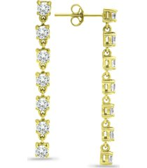 giani bernini cubic zirconia linear drop earrings in 18k gold-plated sterling silver, created for macy's