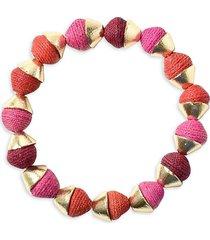 akola women's goldtone & raffia stretch bracelet