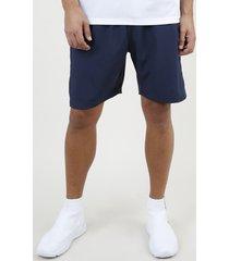 bermuda masculina esportiva ace com faixa lateral em tela azul marinho