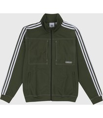 chaqueta verde oliva-blanco adidas originals