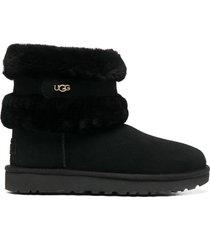 ugg fluff mini belted ankle boots - black