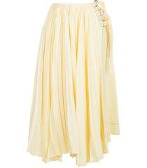 proenza schouler asymmetric pleated side buckle skirt - yellow