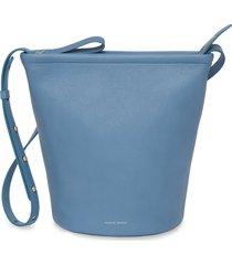 mansur gavriel leather zip bucket bag - blue