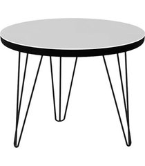 mesa lateral glass redonda 300 pé de ferro preto - líder design