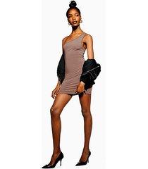 one shoulder bodycon mini dress - mauve