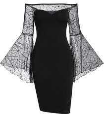 off the shoulder sheer bell sleeve gothic halloween bodycon dress