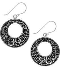 essentials decorative disc drop earrings in fine silver-plate