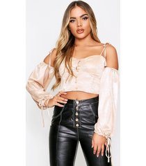 metallic button front balloon sleeve top, champagne