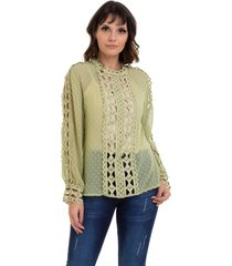blusa kinara chiffon renda vazada verde - verde - feminino - poliã©ster - dafiti