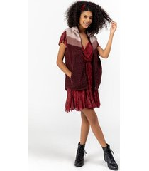 charity sherpa color-block vest - burgundy
