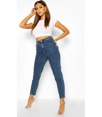 high rise mom jeans, middenblauw