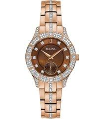 bulova women's phantom crystal & rose gold-tone stainless steel bracelet watch 31mm