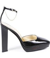 roger vivier black patent leather chainlink block heel pumps black sz: 7.5