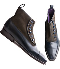 handmade brown navy button top leather boots, men's office dress formal boots