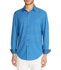 tallia men's slim fit floral 4-way stretch long sleeve shirt