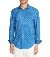 tallia men's slim fit floral 4-way stretch long sleeve shirt