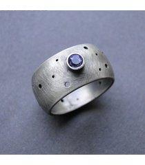obrączka dziurawa z tanzanitem