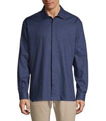 slim-fit long-sleeve plaid shirt